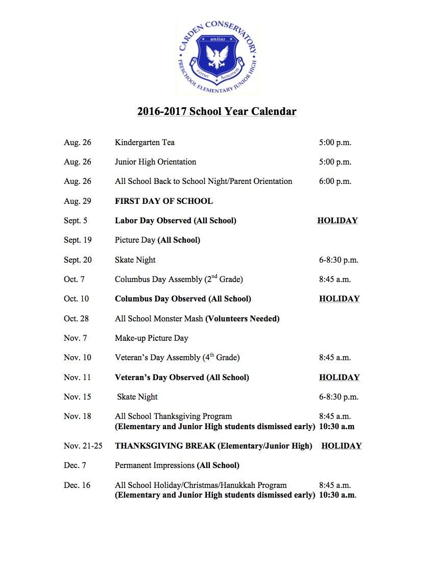 Carden Conservatory Calendar for 2016-2017 01